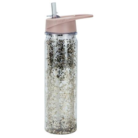Boston Warehouse Insulated Glitter Filled Flip Top Sport Water Bottle, 20oz, multiple colors (Water Bottles In Bulk)