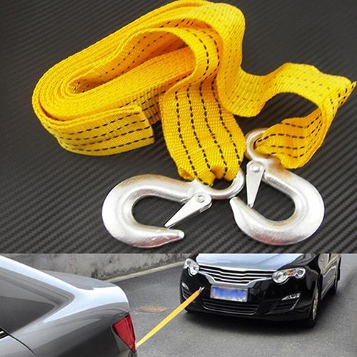 3M 3Tons Car Tow Cable Emergency Trailer Rope 2 Anti-Slip Hooks for Heavy Duty