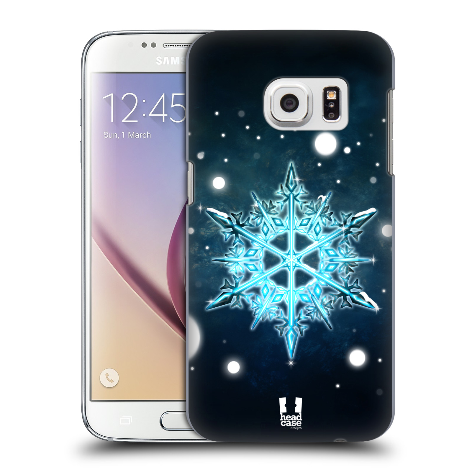 HEAD CASE DESIGNS SNOWFLAKES HARD BACK CASE FOR SAMSUNG PHONES 1