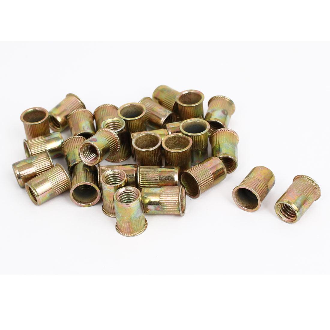 M8 Thread Dia Zinc Plated Rivet Nut Nutsert Brass Tone 30pcs