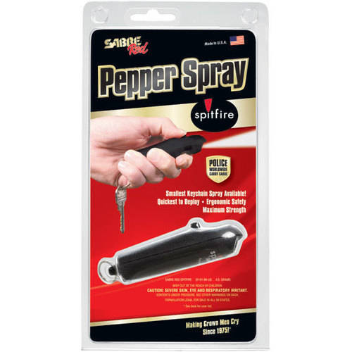 SABRE Red Pepper Spray Police Strength Spitfire, Most Advanced, Compact & Fastest-Deploying Key Ring Spray with Refillable Case
