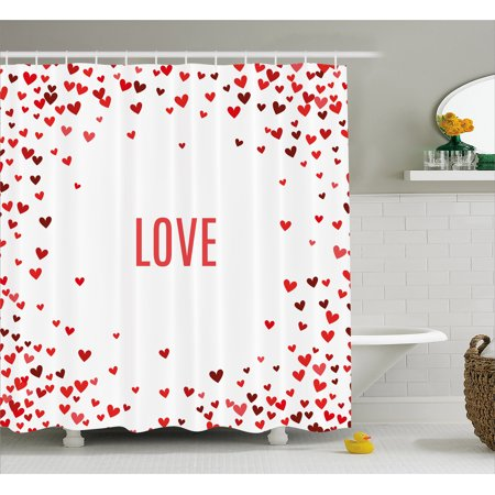 Love Shower Curtain Romance Themed Illustration Hearts Background Abstract Amour Ornamental Design Fabric Bathroom