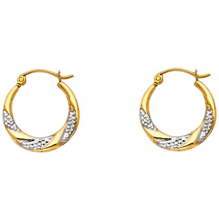 FB Jewels 14K White And Yellow Gold Fancy Hollow Hoop Womens Earrings 18MM X -
