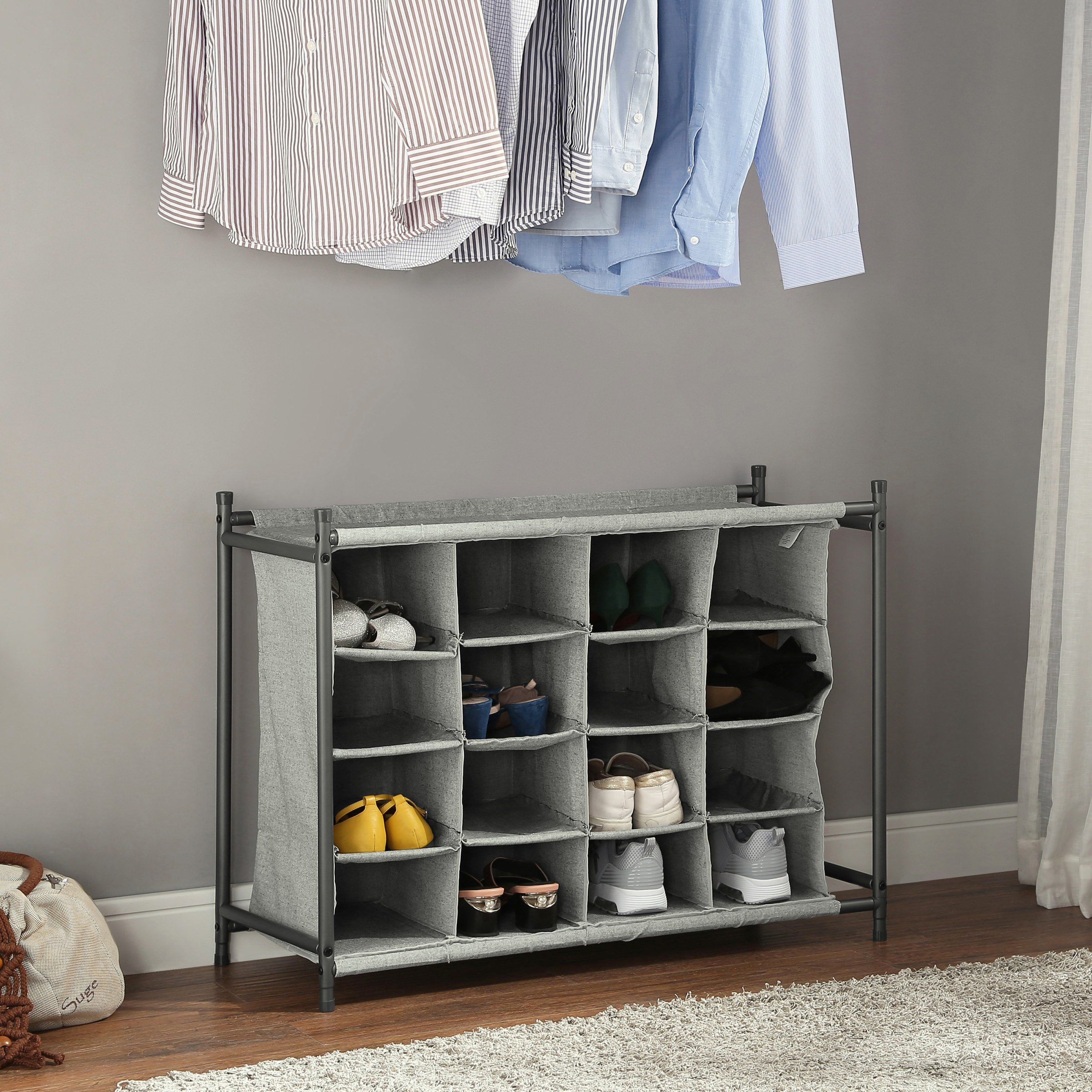 Better Homes & Gardens Charleston Collection 4 Tier 16 Cubby 16-Pair Shoe Organizer, Multiple Colors, 4 Count