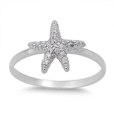 - Sterling Silver Women's Flawless Colorless Cubic Zirconia Cluster Micro Pave Starfish Ring (Sizes 2-11) (Ring Size 10)