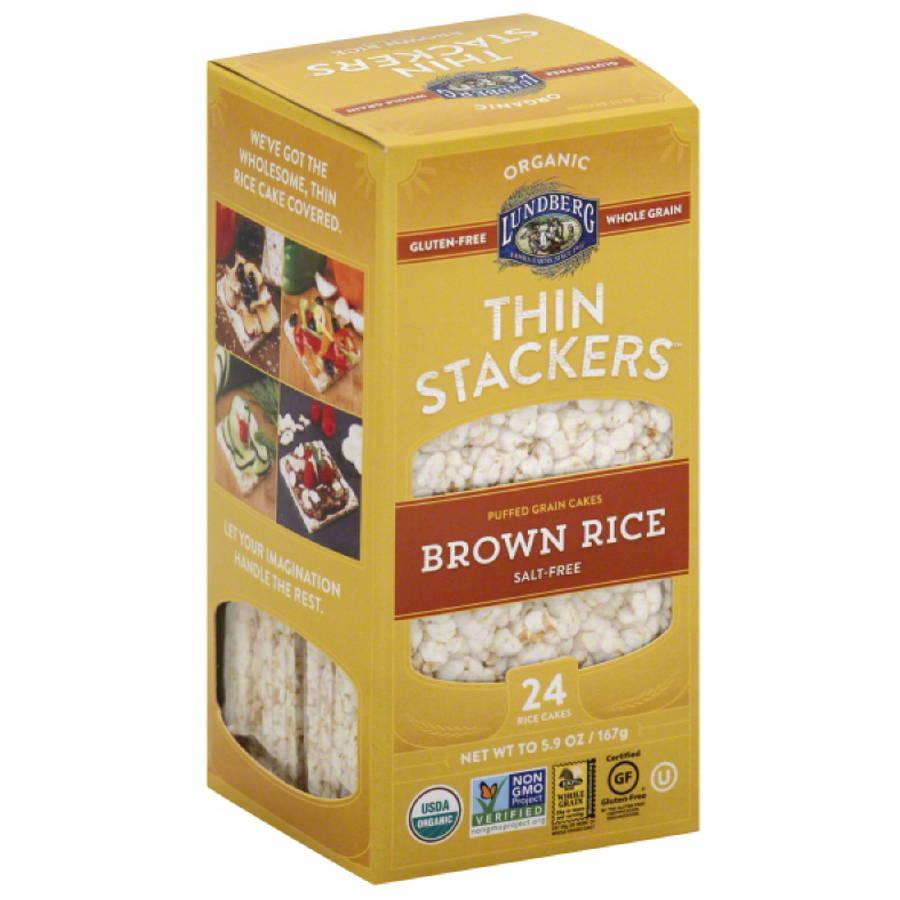 Lundberg Organic Thin Stackers Salt Free Brown Rice Puffed Grain Cakes, 5.9 oz, (Pack of 12)