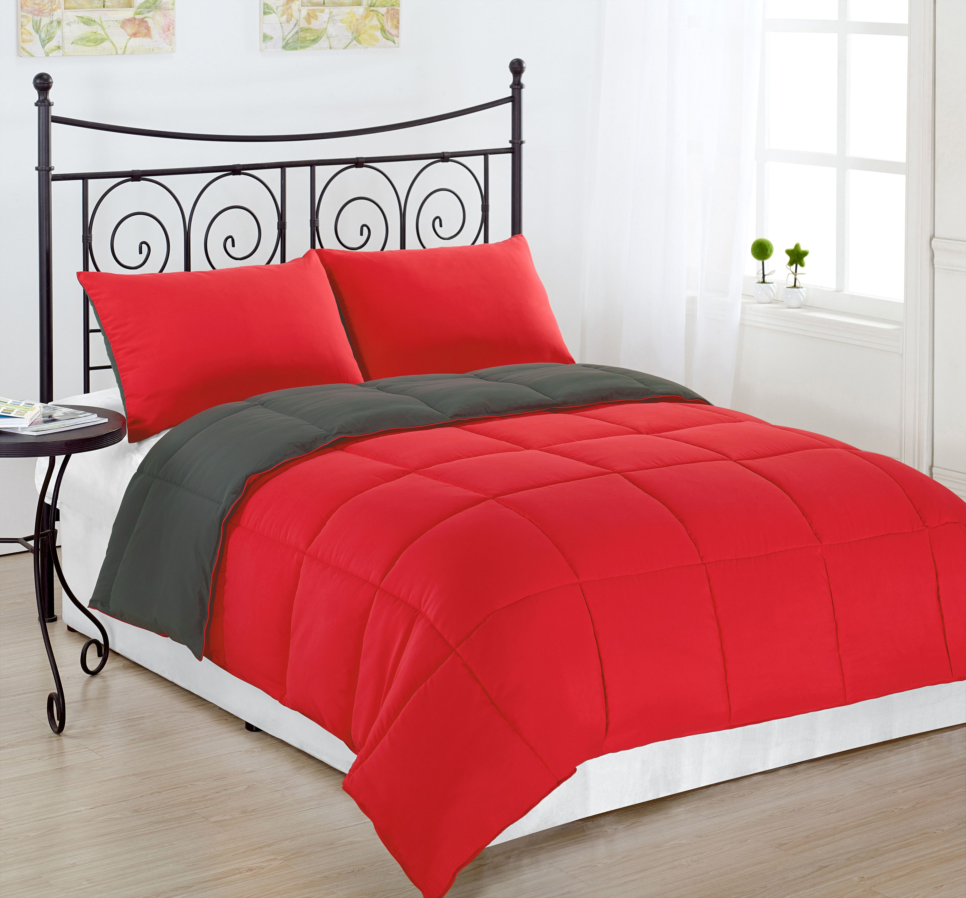 Reversible Collection 3pc KING Size Down Alternative Comforter set Red/Grey Color