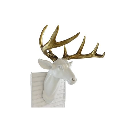 Pine Ridge Medium White Deer Head With Gold Antlers - Unique Animal-friendly Light-weight Wall Mount Hanging Sculpture Beautifully Hand Painted and Crafted Polyresin - Great For Arts and Crafts ()