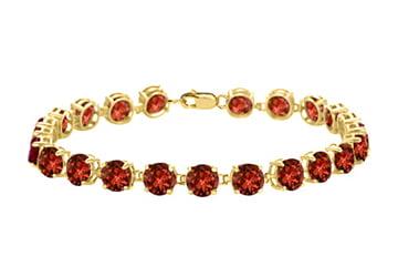 14K Yellow Gold Prong Set Round Garnet Bracelet 12.00 CT TGW January Birthstone Jewelry by Love Bright