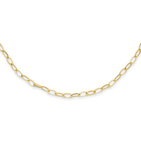 - 14k Yellow Gold Oval Cuban Link Chain Necklace Pendant Charm Fancy Gifts For Women For Her