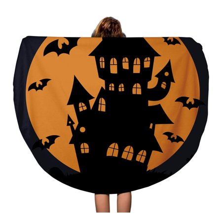 JSDART 60 inch Round Beach Towel Blanket Halloween Haunted House Silhouette Autumn Black Cartoon Celebration Creepy Travel Circle Circular Towels Mat Tapestry Beach Throw - image 1 of 2