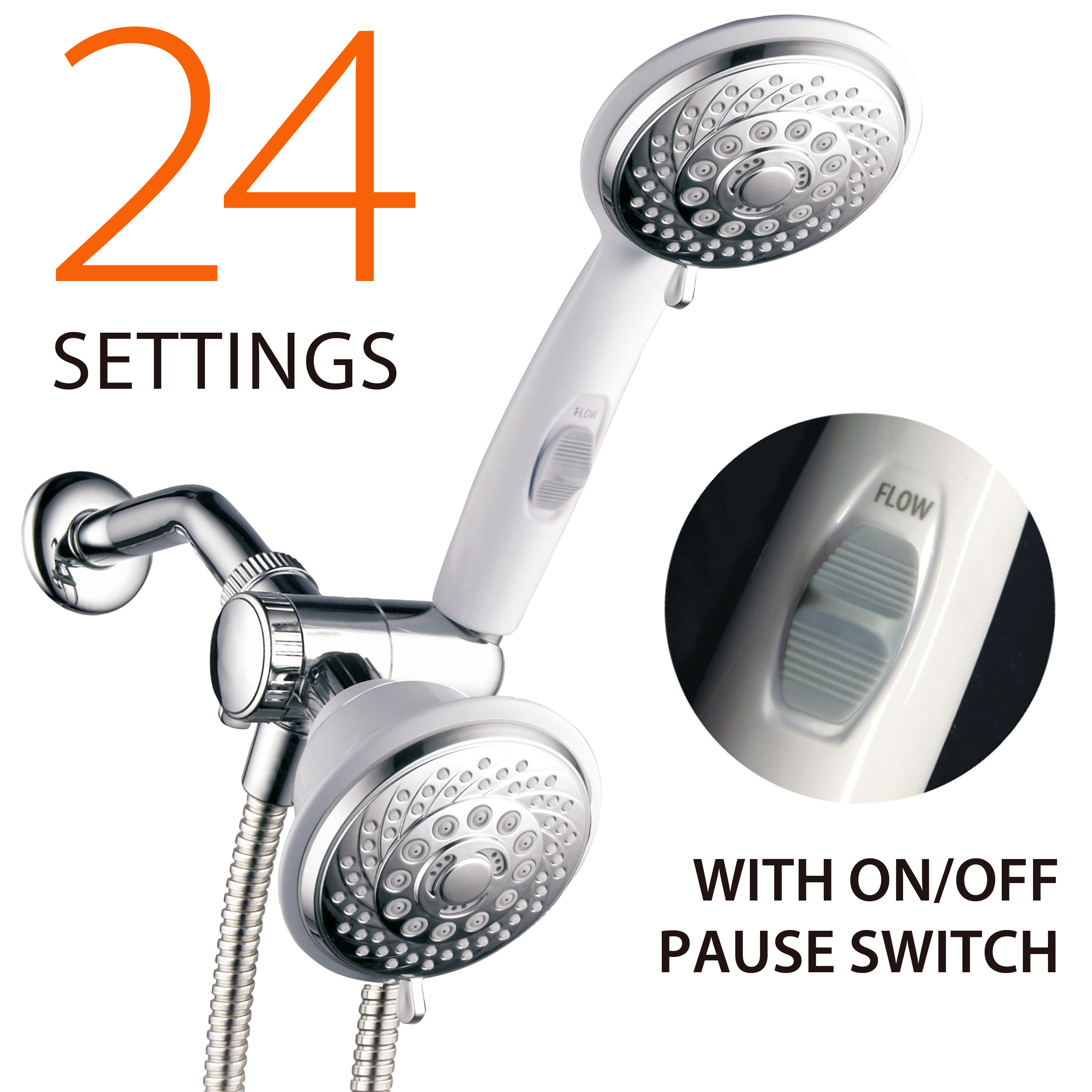 AquaSpa® Designer Collection Ultra-Luxury 2-Tone 30-Setting Shower-Head/Handheld Shower Combo (Chrome/White)