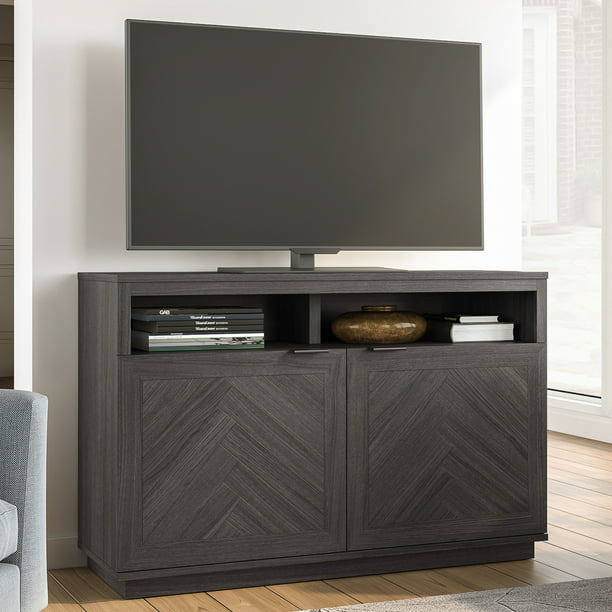 "Better Homes & Gardens Hendrix Herringbone Style TV Stand For TVs up to 55"", Gray"