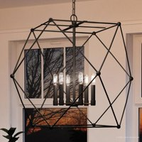 """Urban Ambiance Luxury Bohemian Pendant, Size: 26""""H x 28""""W, with Urban Industrial Style Elements, Midnight Black Finish, UHP2702"""