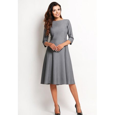 2004e5dde2b1a Dark Blue Elegant Classic 3/4 Sleeves Midi Dress - image 1 of 1 ...