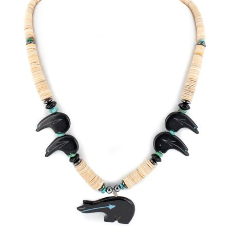 Graduated Onyx (Bear Certified Authentic Navajo .925 Sterling Silver Natural Graduated Melon Shell Turquoise Resin Black Onyx Hematite Native American Necklace)