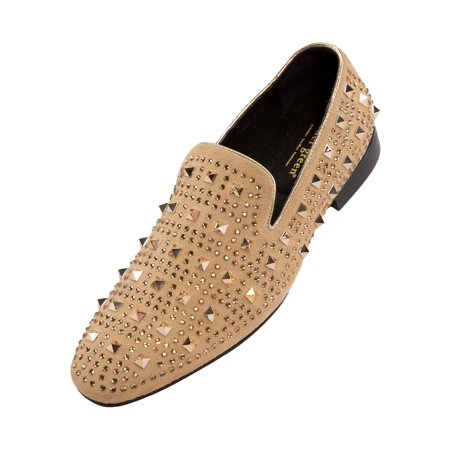 Suede Slip On Shoes (Asher Green Men's Tonal Crystal and Studded Suede Smoking Slipper, Slip On Dress Shoe, Style AG5000 )