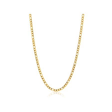 24 Inches High Shine Stainless Steel Figaro Gold Plated Chain with Lobster Clasp ()