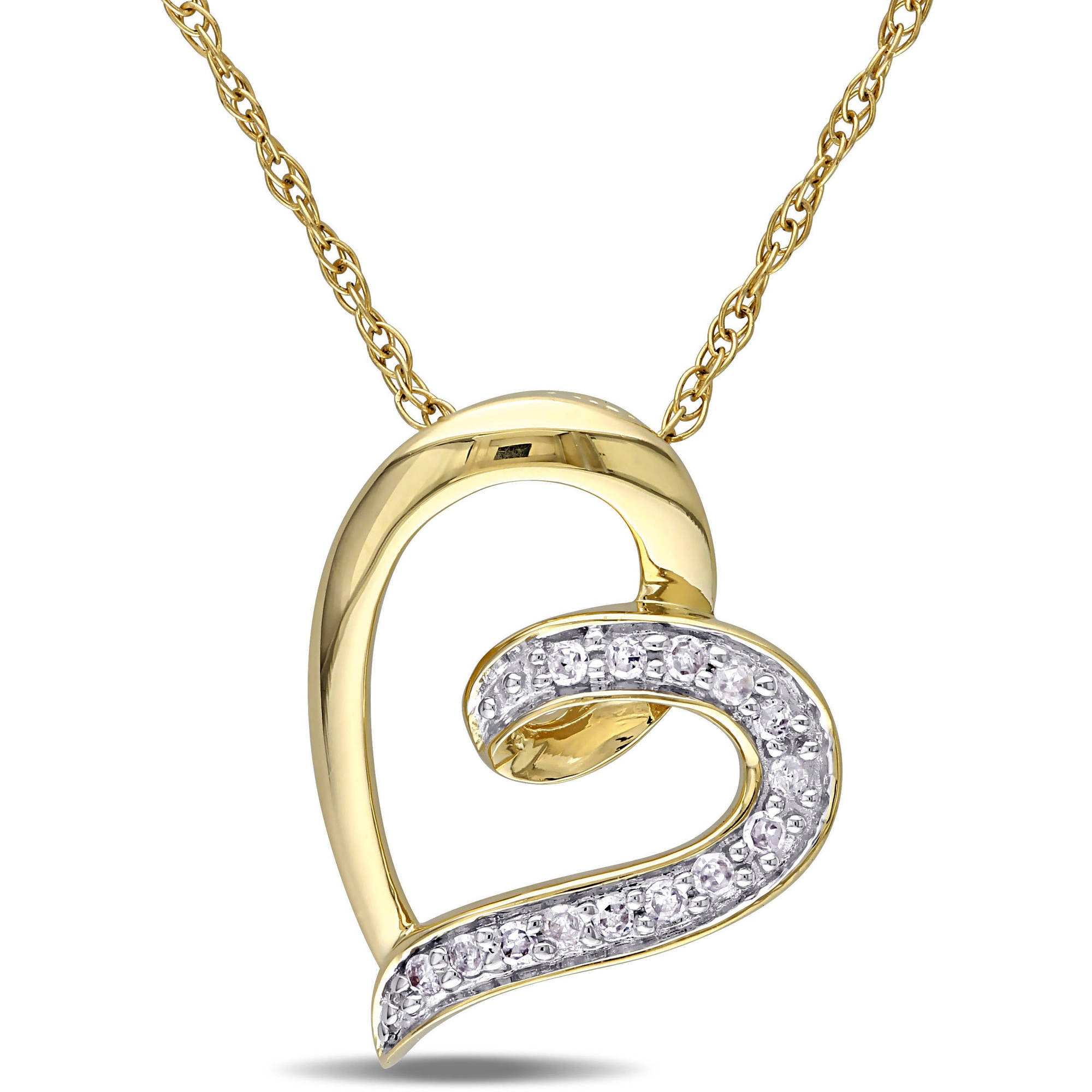 "Miabella Diamond Accent 10kt Yellow Gold Heart Women's Pendant Necklace, 17"" by Delmar Manufacturing LLC"