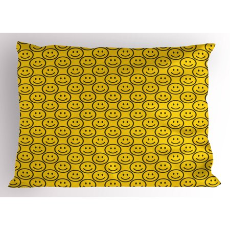 Emoji Pillow Sham Flat Simple Smiley Faces Expressing Happiness in Diagonal Order Joyful Childhood, Decorative Standard King Size Printed Pillowcase, 36 X 20 Inches, Yellow Black, by Ambesonne