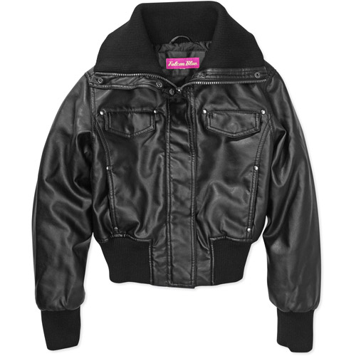 Girls' Faux Leather Bomber Jacket - Walmart.com
