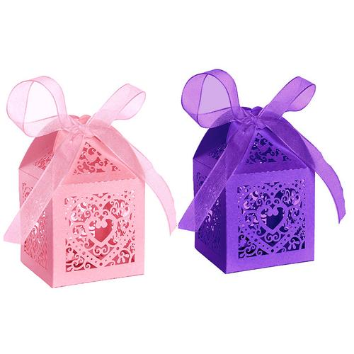 50 Pack Love Pattern Gift Candy Box Paper Card Paper Boxes for Crafts, Candy Goodie Bags, Birthday Party Wedding