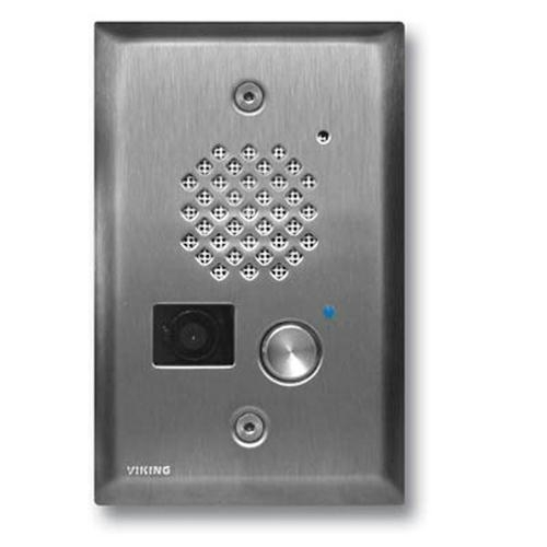 Viking - E-50-SS - Brushed Stainless Steel Entry Phone with Color Video Camera, Auto Disconnect, Blue LED, Flush Mounts