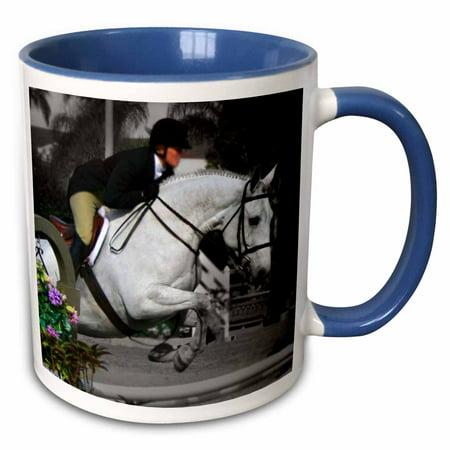 3dRose Arabian Horse Jumping Rider - Two Tone Blue Mug, 11-ounce
