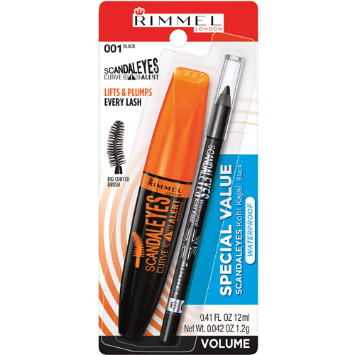 Rimmel Volumeflash Scandaleyes Curve Alert Mascara/Waterproof Kohl Kajal Eye Liner, 001 Black, 2 pc