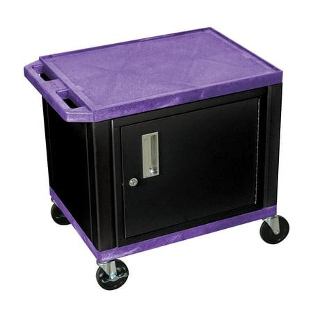 "Luxor WT26PC2-B Purple 26\"" Multipurpose A/V Cart with 2 Shelves, Cabinet - Black Legs"