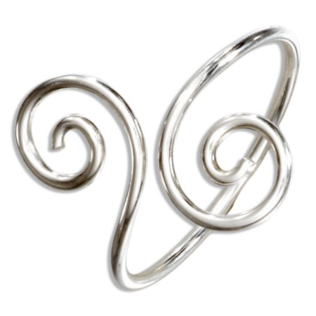 STERLING SILVER WIRE DOUBLE SPIRAL BYPASS RING