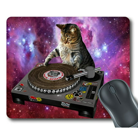 GCKG Cool Galaxy DJ Cat Funny Animal Pet Mouse Pad Personalized Unique Rectangle Gaming Mousepad 9.84