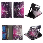 """Sparkly Butterfly tablet case 8 inch for universal 8"""" 8inch android tablet cases 360 rotating slim folio stand protector pu leather cover travel e-reader cash slots"""