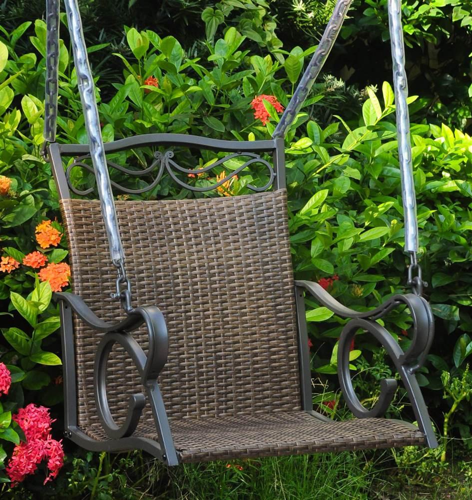 Hanging Patio Swing in Antique Brown Finish by International Caravan