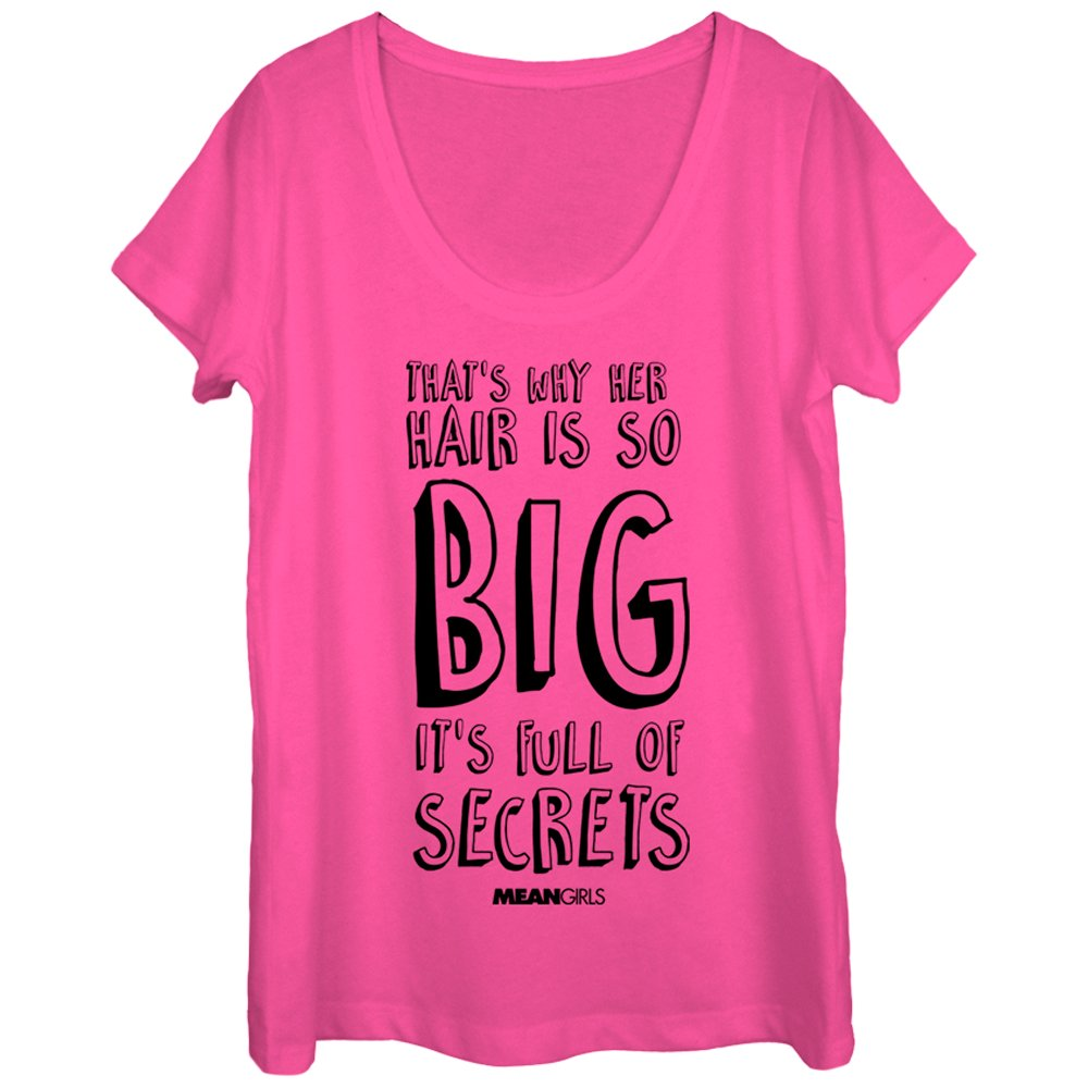 Mean Girls Hair Full of Secrets Womens Graphic Scoop Neck