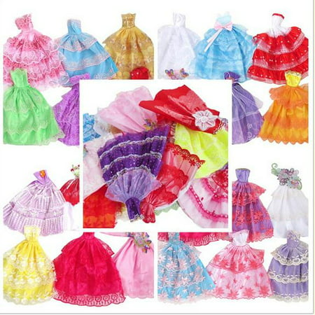 5pcs Fashion Handmade Gorgeous Princess Clothes Grows Outfit Dresses for Doll Deliver Random ()