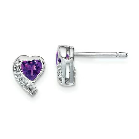 925 Sterling Silver Purple Amethyst Diamond Heart Post Stud Earrings Love Gifts For Women For Her