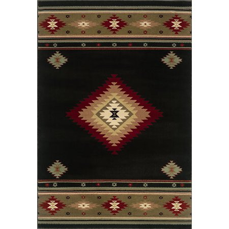 Moretti Wetlands Area Rugs - 087G1 Southwestern Lodge Black Southwestern Navajo Apache Style Shapes Rug