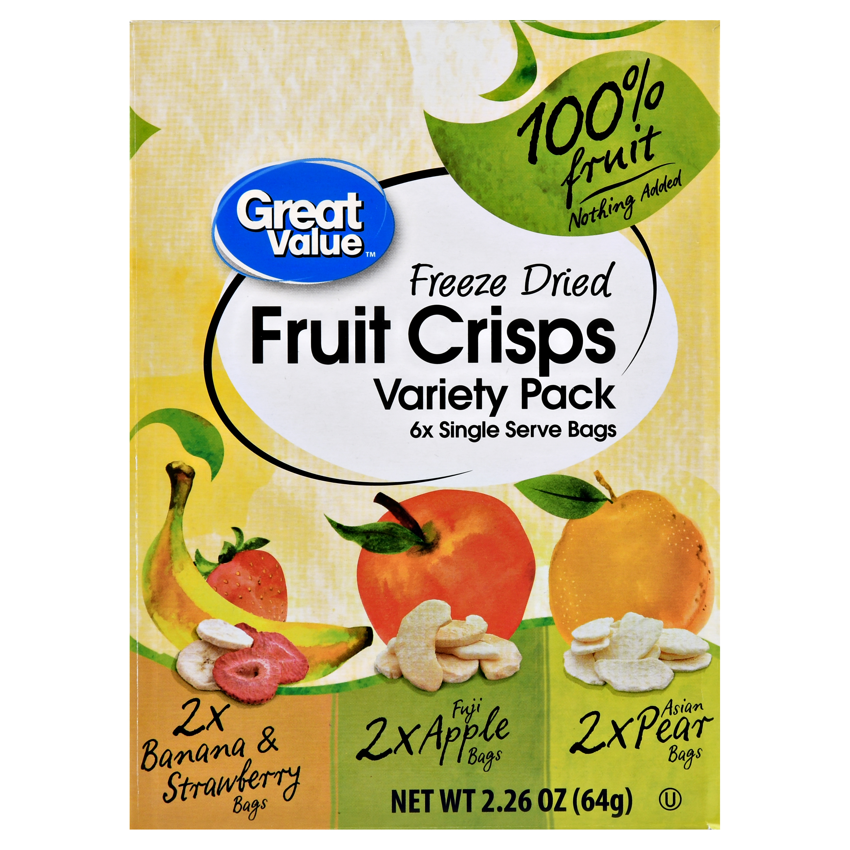 Great Value Freeze Dried Fruit Crisps Variety Pack, 6 Count
