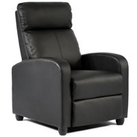 Modern Home Theater Recliner in Faux Black Leather