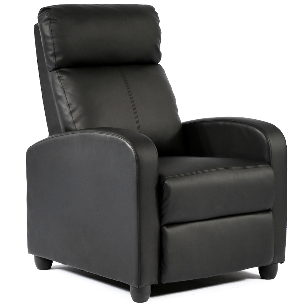 Recliner Chair Single Reclining Sofa Leather Chair Home Theater Seating Living Room Lounge Chaise with Padded Seat Backrest (Black)