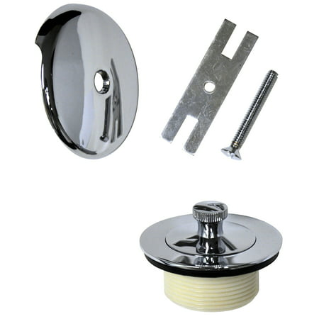 DANCO Universal Lift and Turn Bath Drain Trim Kit with Overflow Plate, Chrome (88966)