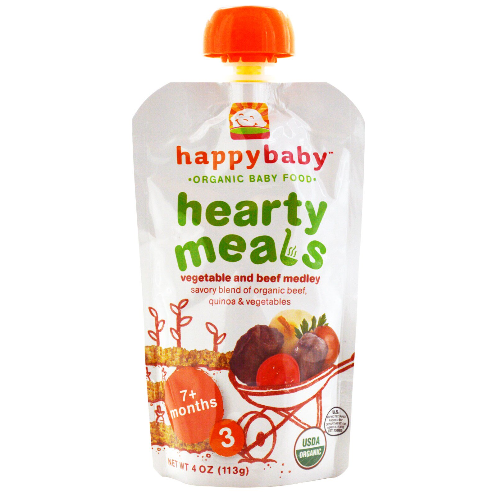 Nurture Inc. (Happy Baby), Organic Baby Food, Hearty Meals, Vegetable and Beef Medley, 7+ Months, Stage 3, 4 oz (pack of 6)