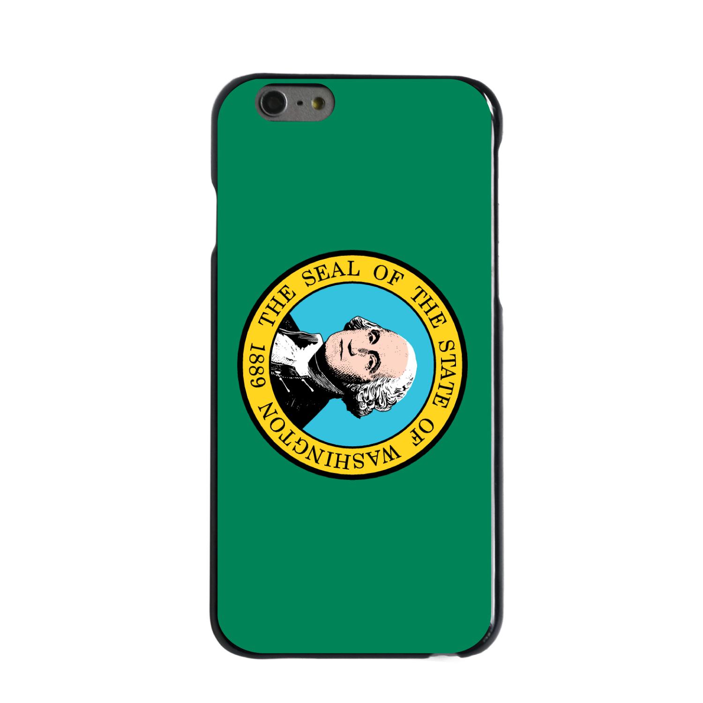 "CUSTOM Black Hard Plastic Snap-On Case for Apple iPhone 6 / 6S (4.7"" Screen) - Washington State Flag"
