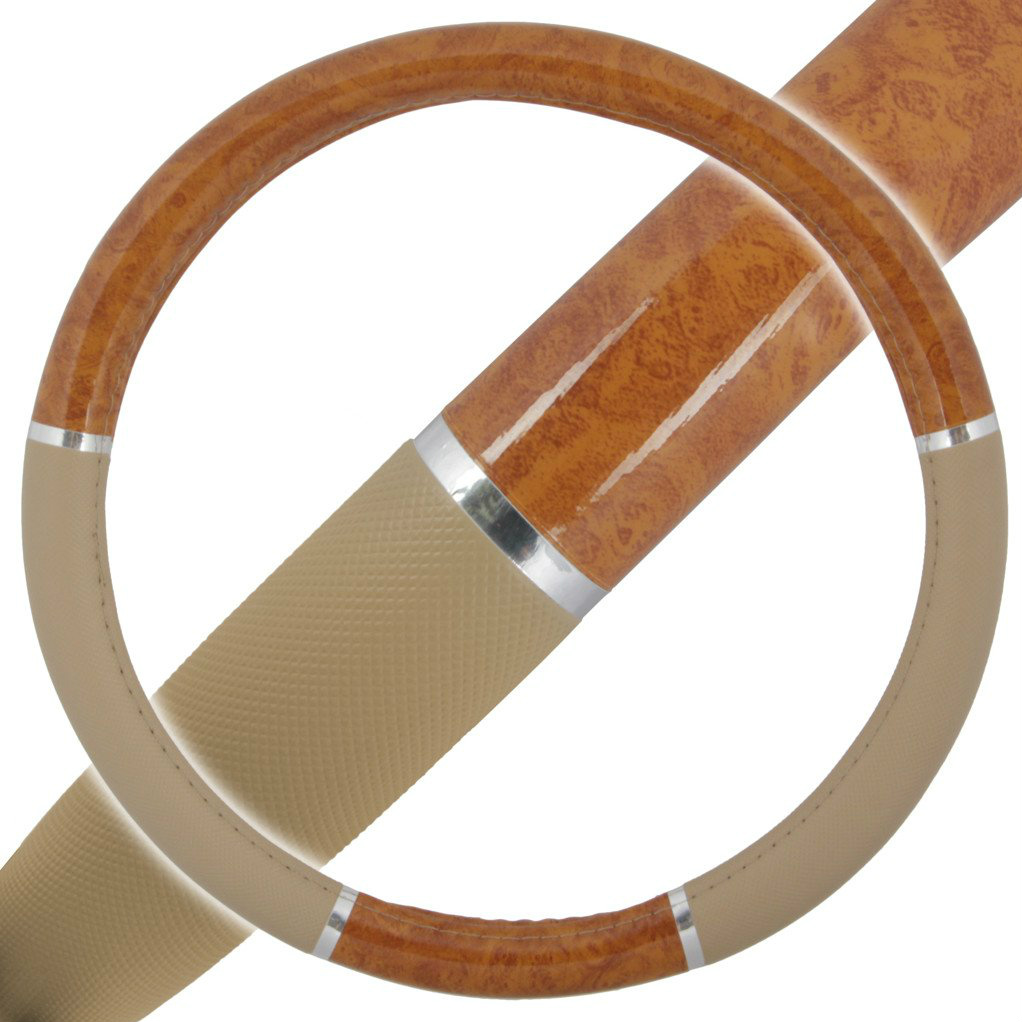 A01 Premium Wood Grain Design Chrome Stripe Burl Wood Beige Steering Wheel Cover for BMW