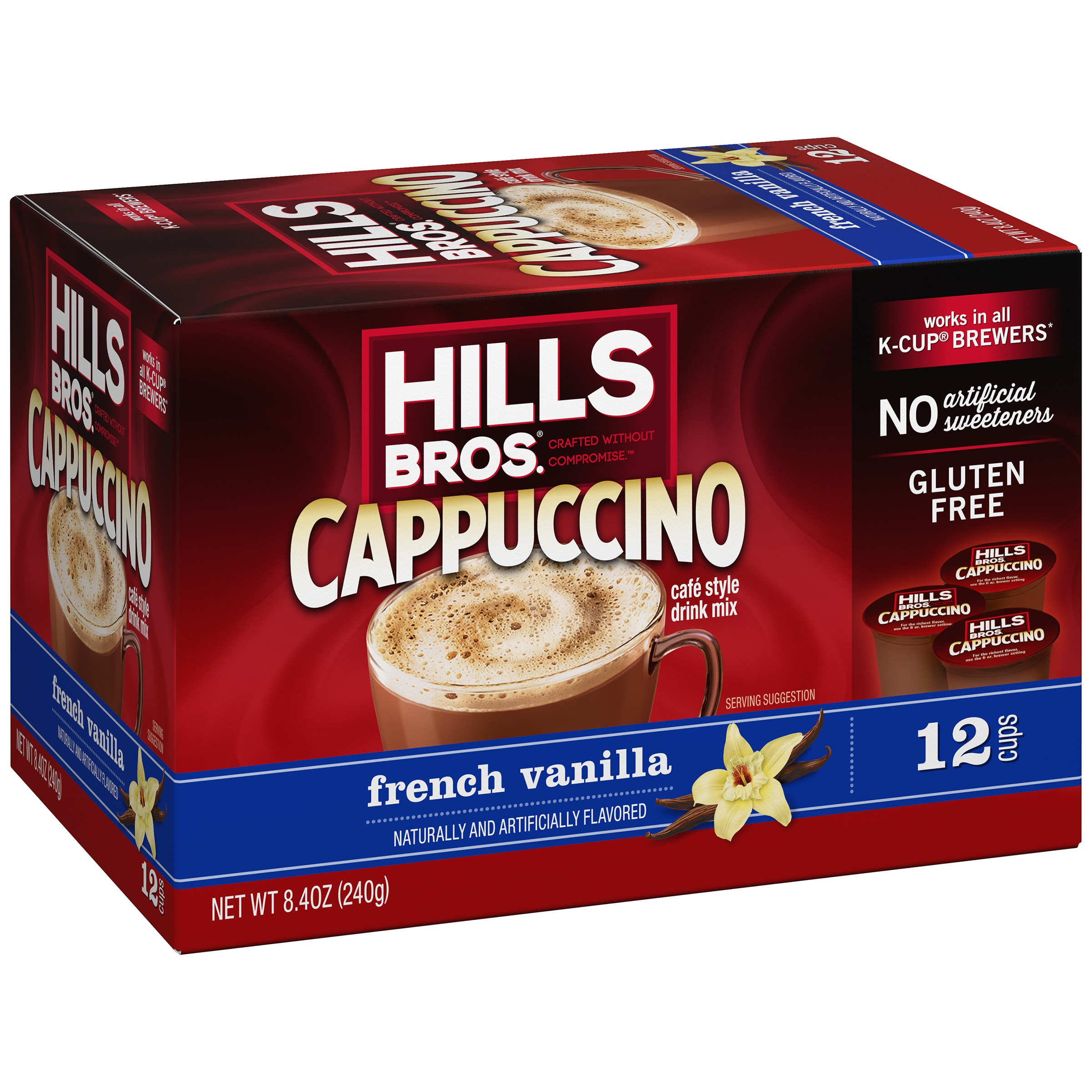 Hills Bros Cappuccino French Vanilla Café Style Drink Mix 12 Cups 8.4oz