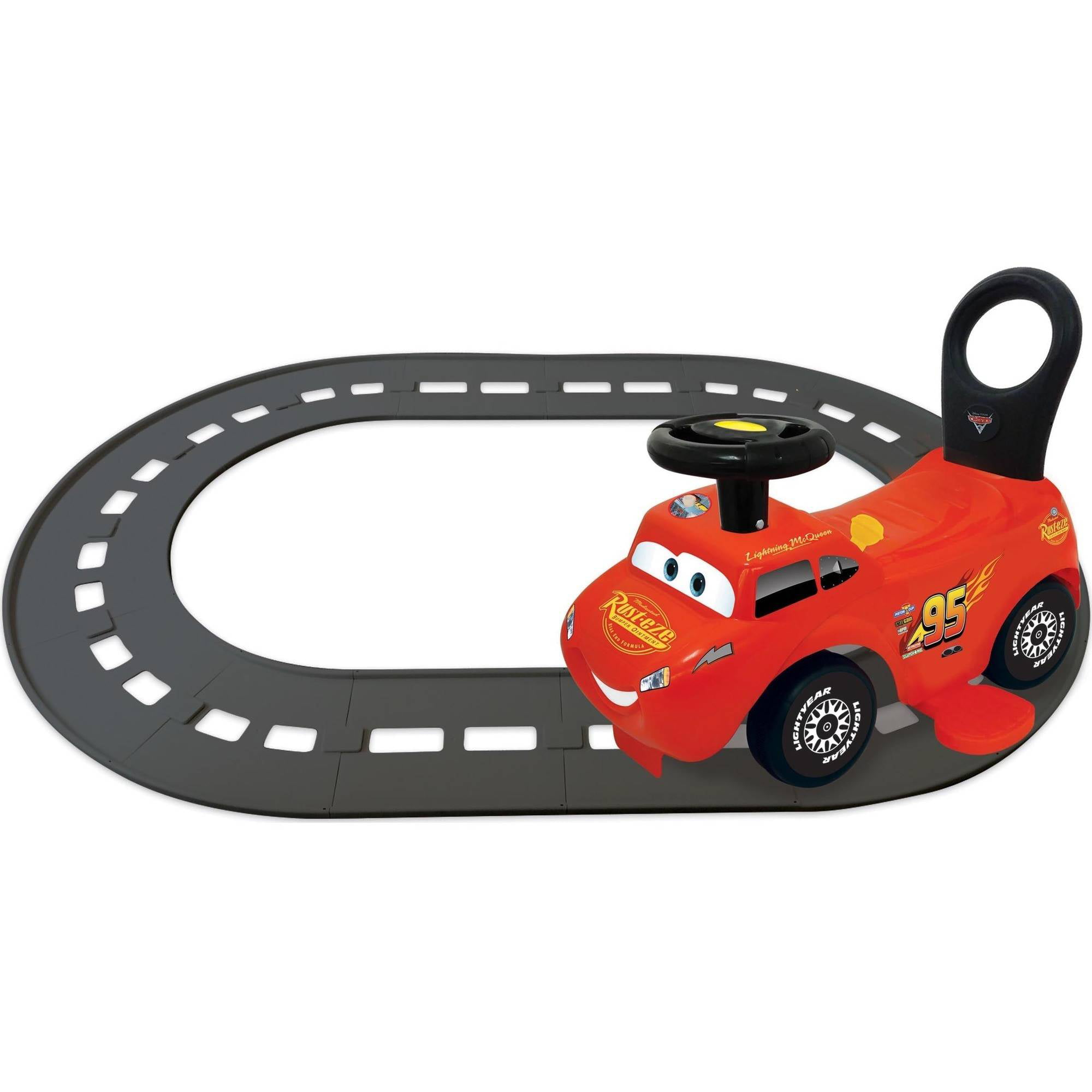 Kiddieland Disney Cars Lightning McQueen 3-in-1 Go-Go-Racer Ride-On with Track by Kiddieland