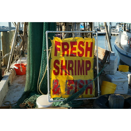 Canvas Print Food Seafood Boat Sign Ocean Fishing Shrimp Stretched Canvas 10 x 14