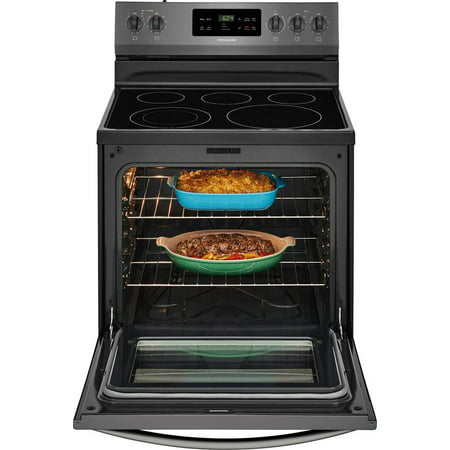 """Frigidaire FFEF3054TD 30"""" Freestanding Electric Range with 5.3 cu. ft. Capacity, 2 Oven Racks, Storage Drawer, 5 Heating Elements, and Self Clean Function, in Black Stainless Steel"""