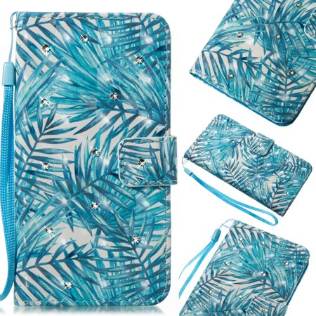 Fancy Double Leaf Knob - Galaxy S7 Edge Case, Galaxy S7 Edge Cover, Allytech Fancy 3D Print Crystal Diamonds Wallet Case with Card Slots Slim PU Leather Folio Flip Kickstand Case Cover for Samsung Galaxy S7 Edge, Banana Leaf